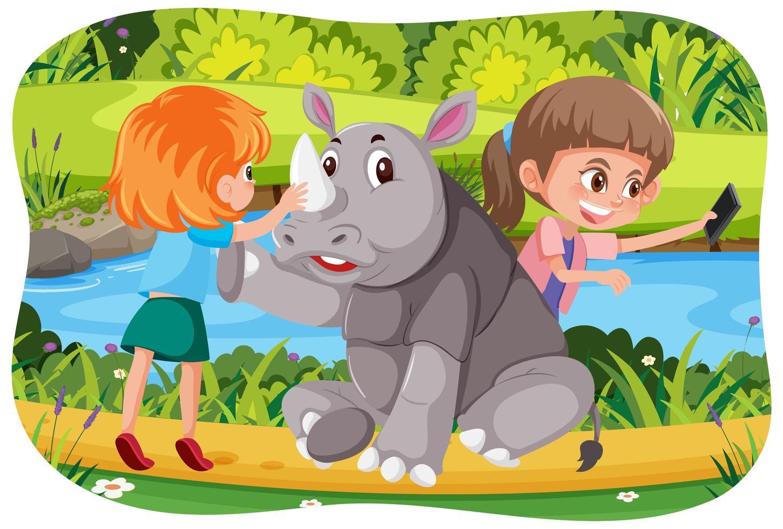 enfants heureux avec des animaux en fond de nature vecteur