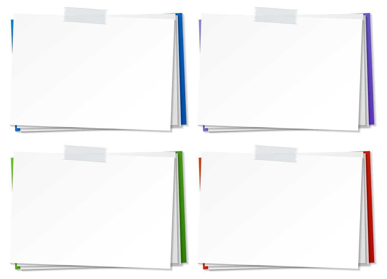 ensemble de modèle de note papier vierge avec du ruban adhésif vecteur