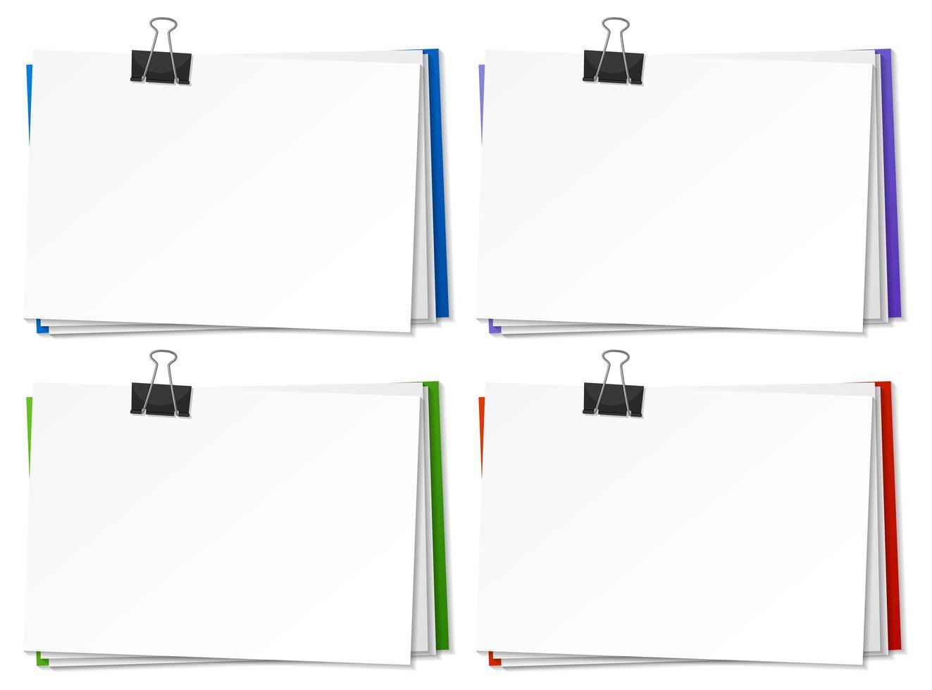 papiers vierges et modèle de clip de reliure vecteur