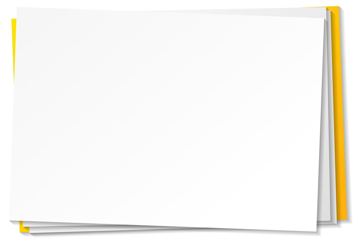modèle de note de papier vierge sur fond blanc vecteur