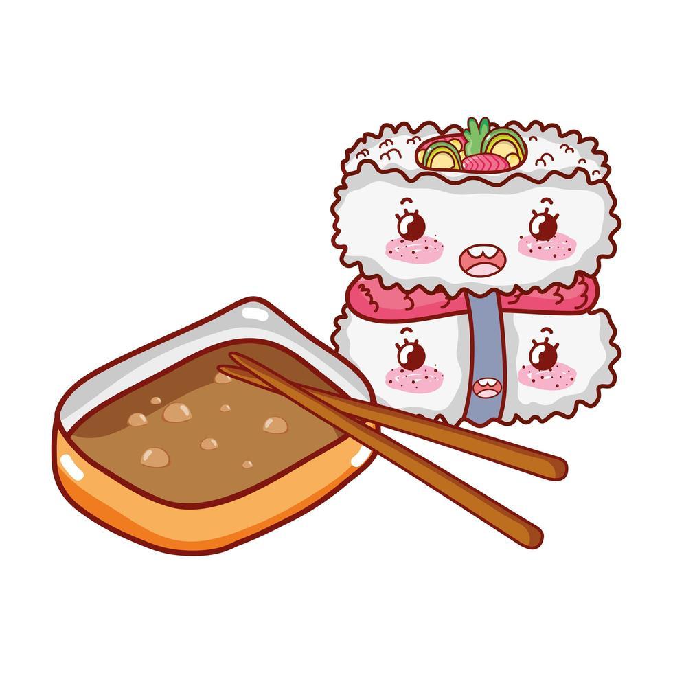 kawaii sushi riz poisson sauce sitcks nourriture dessin animé japonais, sushi et rouleaux vecteur