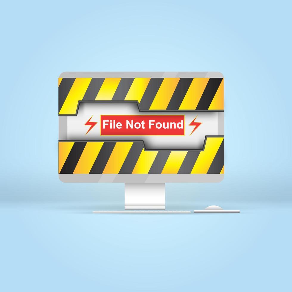 attention, avertissement de fichier introuvable sur l'ordinateur vecteur