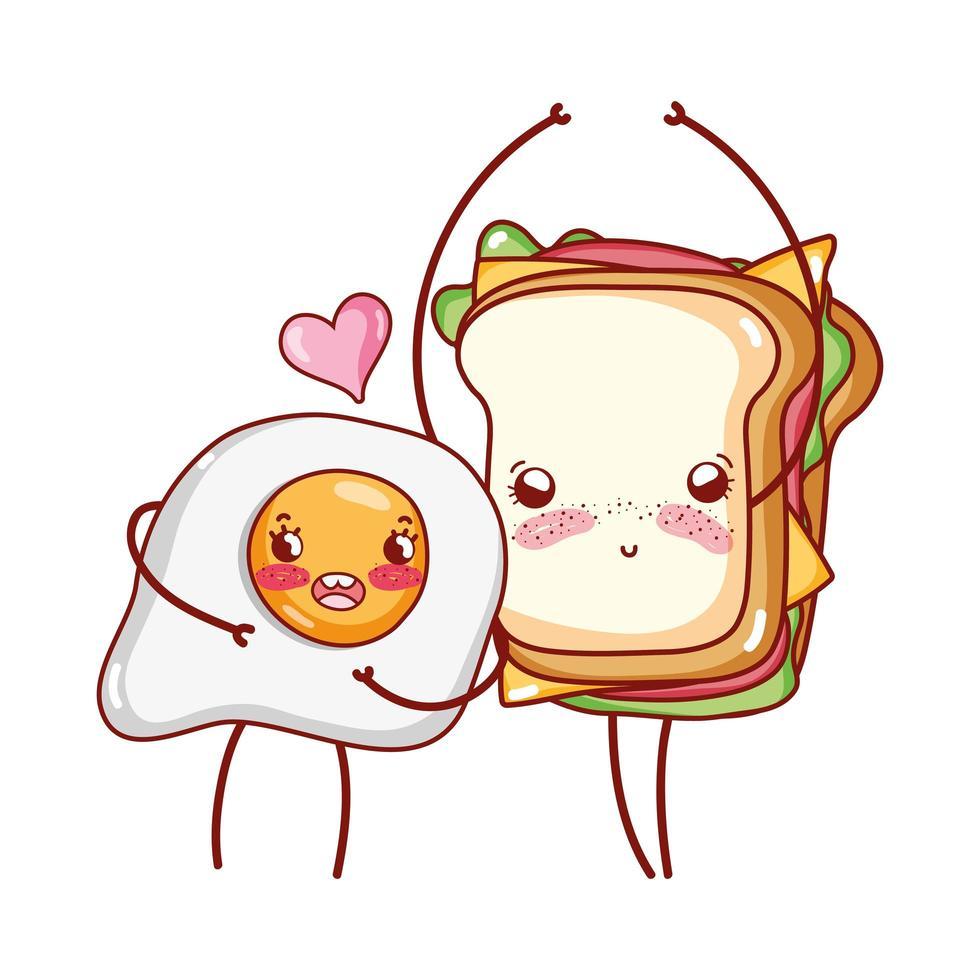 petit déjeuner mignon oeuf au plat et dessin animé sandwich vecteur