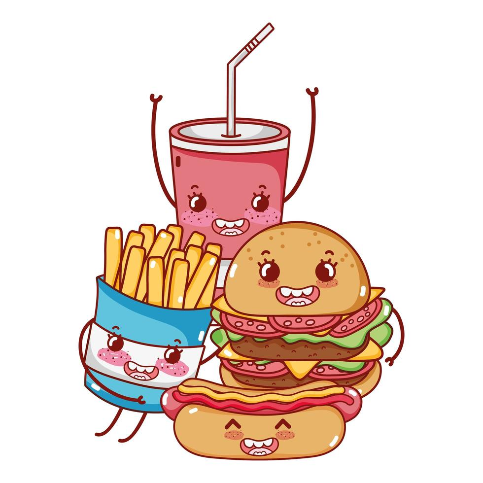 Fast-Food burger mignon hot-dog frites et dessin animé de tasse de soda vecteur