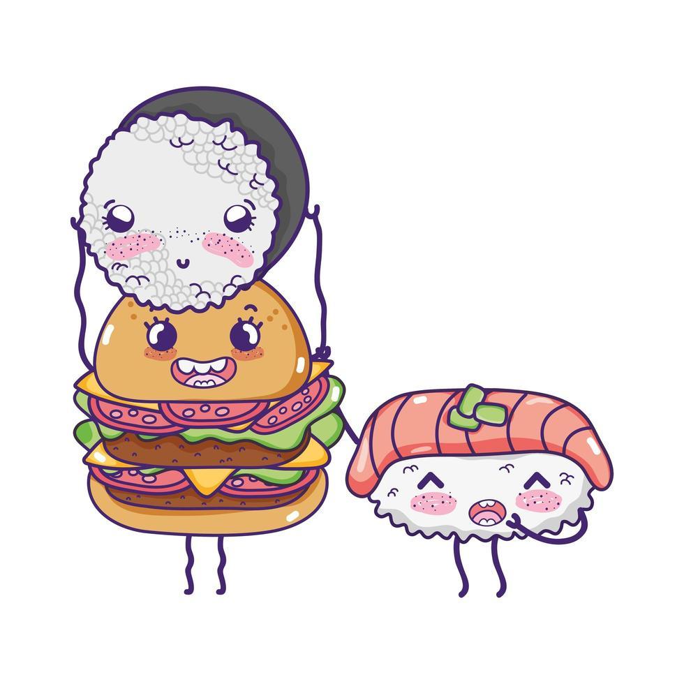 Fast-Food mignon burger avec sushi avec kawaii vecteur