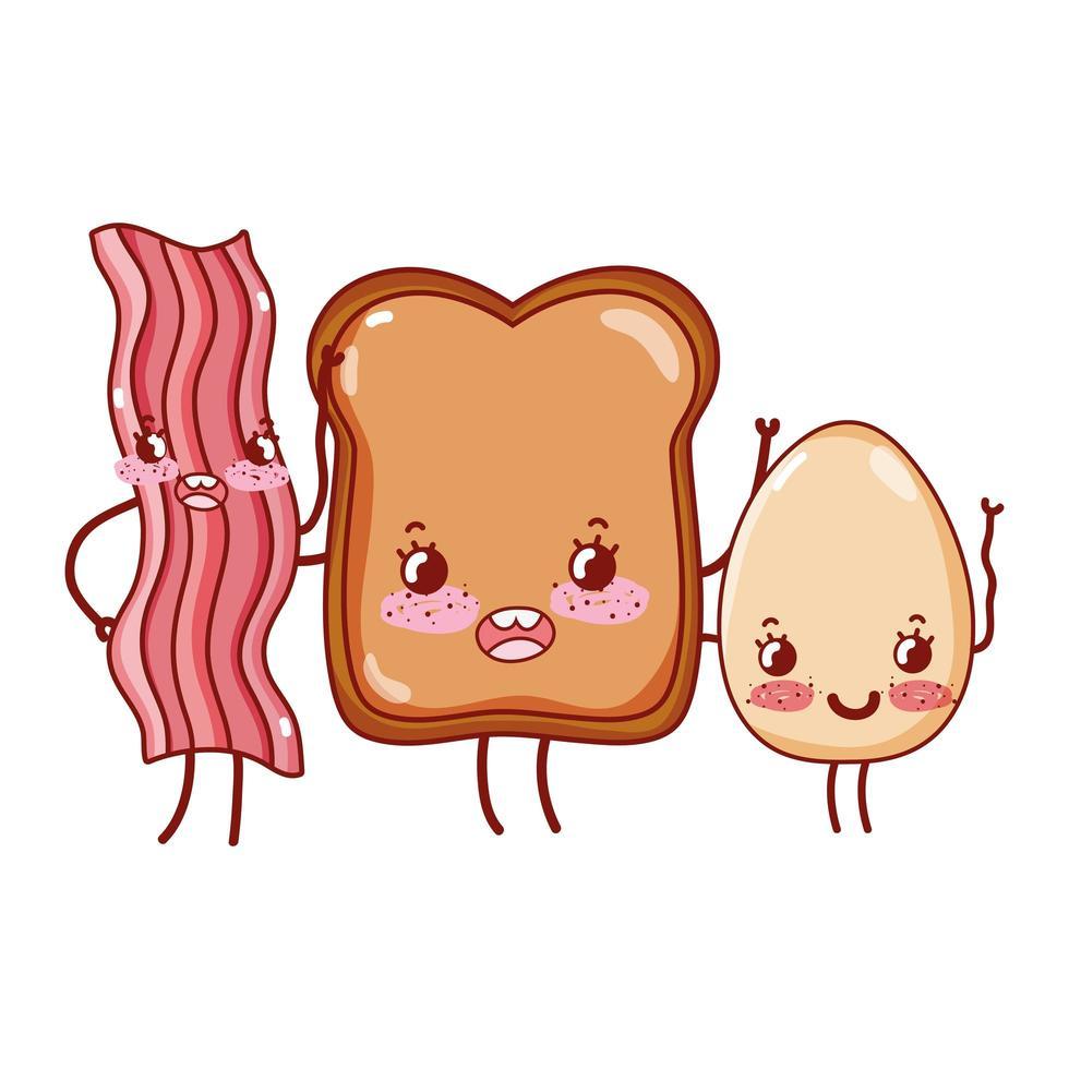 petit déjeuner mignon pain au bacon et oeuf au plat kawaii cartoon vecteur