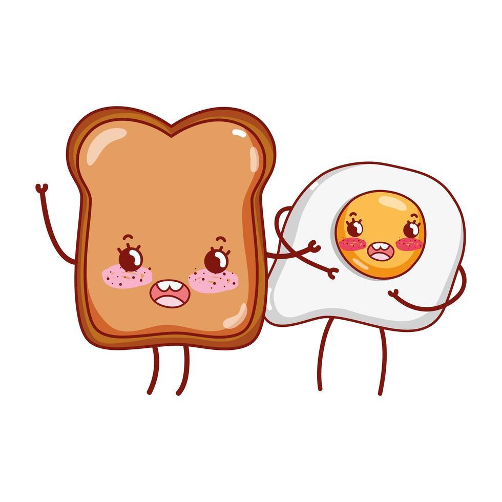petit déjeuner mignon oeuf au plat et pain kawaii cartoon vecteur