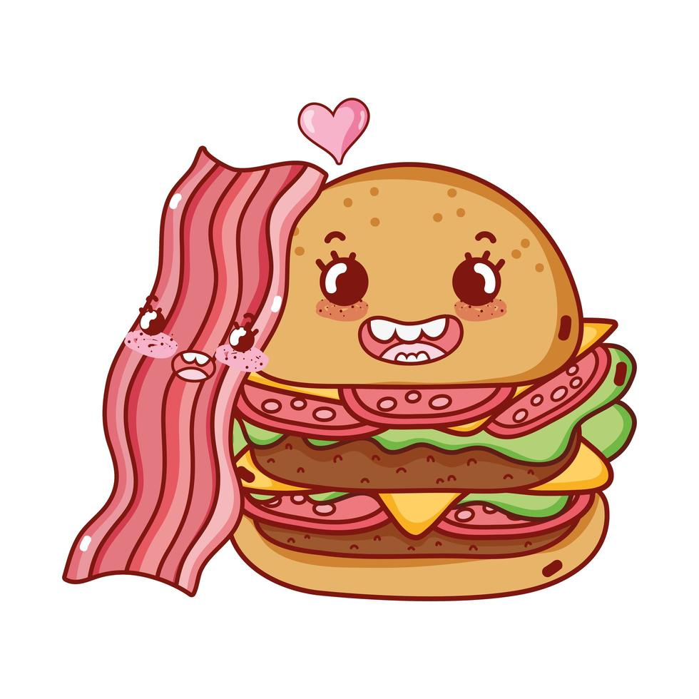 Fast-Food mignon double burger et dessin animé de bacon vecteur