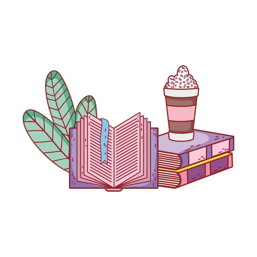 smoothie dans des livres empilés et feuillage à livre ouvert vecteur