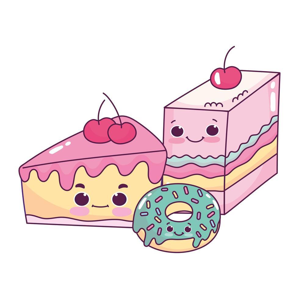 mignon, nourriture, gelée, gâteau, et, beignet, dessert sucré, pâtisserie, dessin animé, isolé, conception vecteur