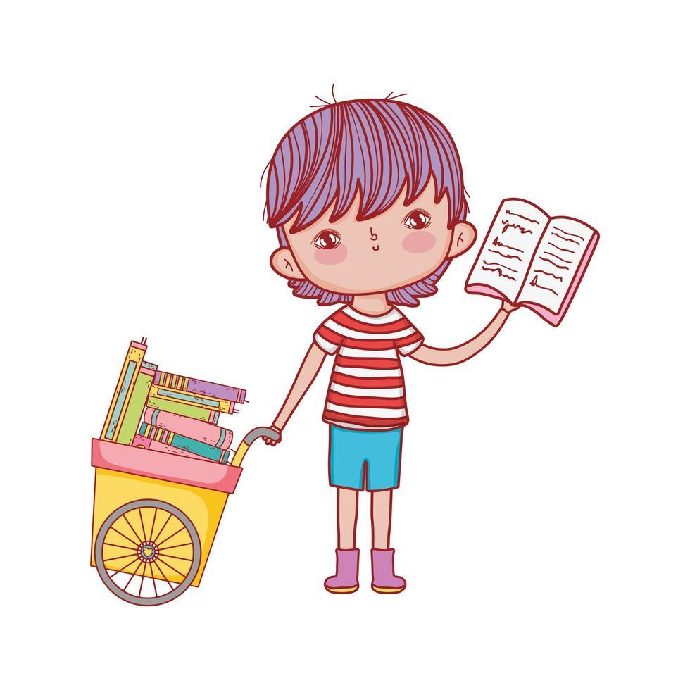 Chariot de main garçon mignon avec des livres design isolé de dessin animé vecteur