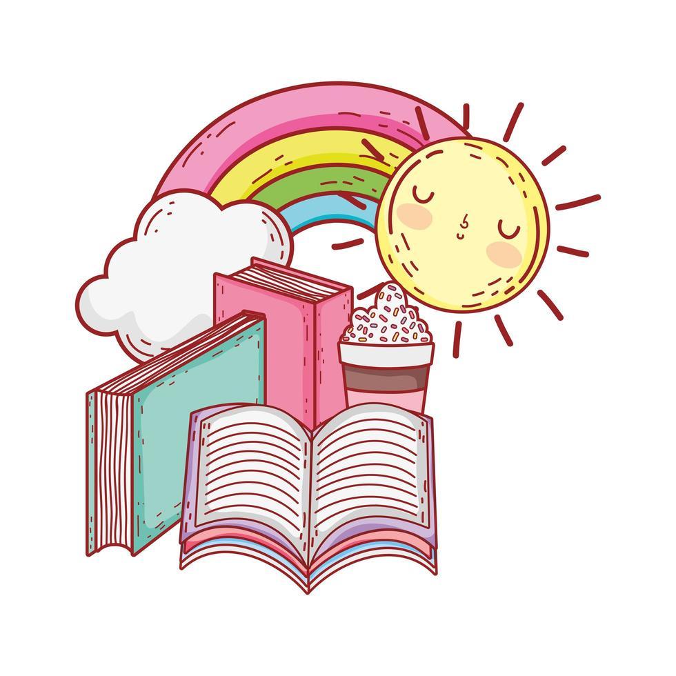 livre ouvert, dans, livres empilés, arc-en-ciel vecteur