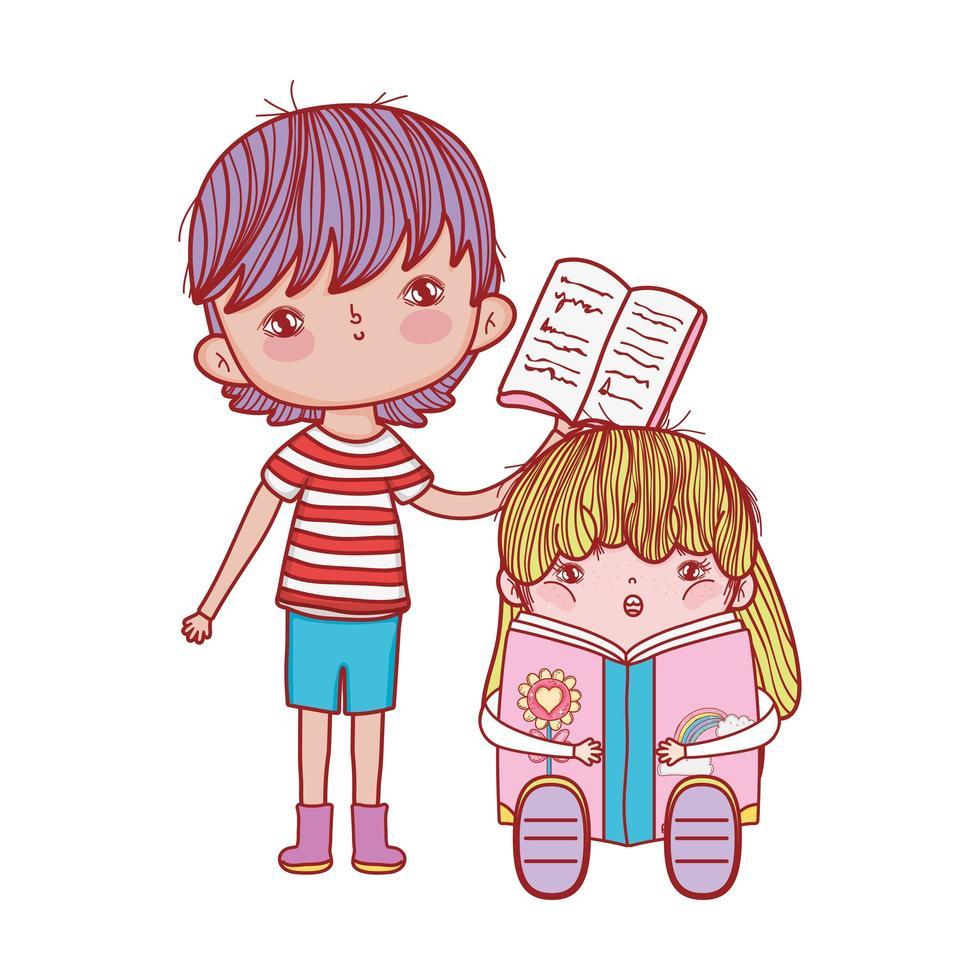 garçon avec livre ouvert et fille assise lisant un livre fantastique vecteur