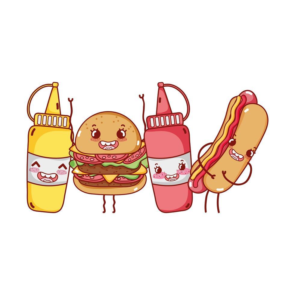 Fast food burger mignon hot-dog sauces moutarde personnage de dessin animé vecteur