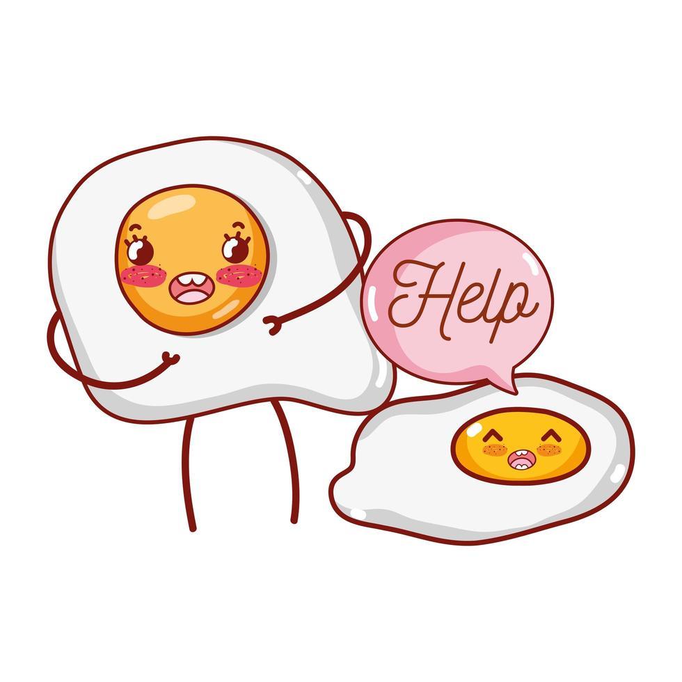 petit-déjeuner mignon oeufs au plat avec texte d'aide kawaii cartoon vecteur