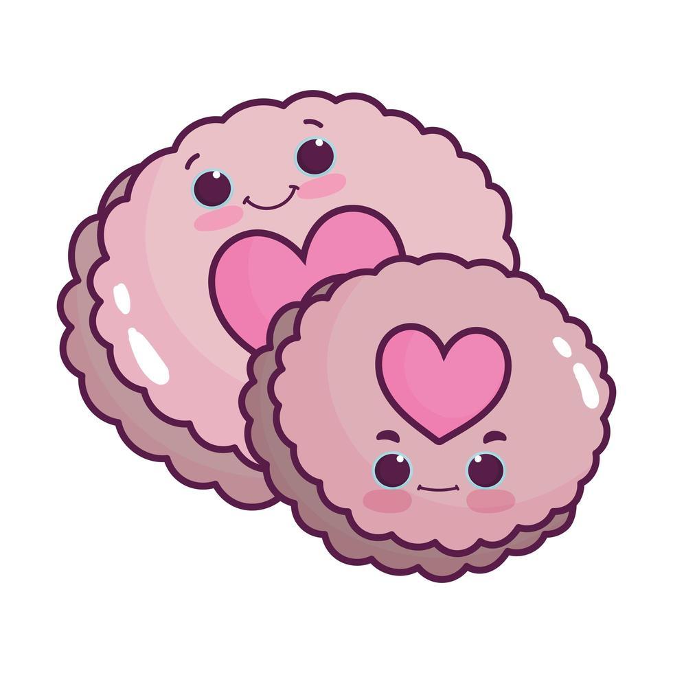 Biscuits alimentaires mignons avec des coeurs aiment la conception isolée de dessin animé kawaii dessert sucré vecteur