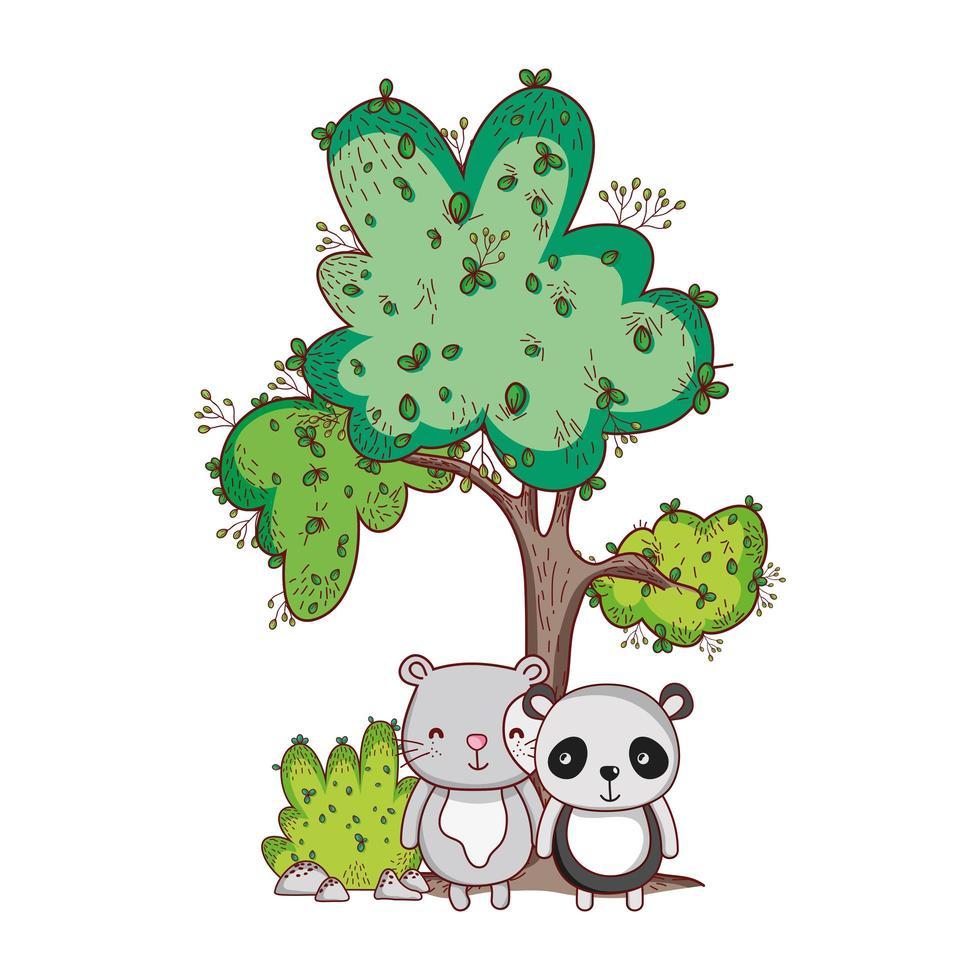 animaux mignons, panda et caricature de buisson d'arbre à chat vecteur