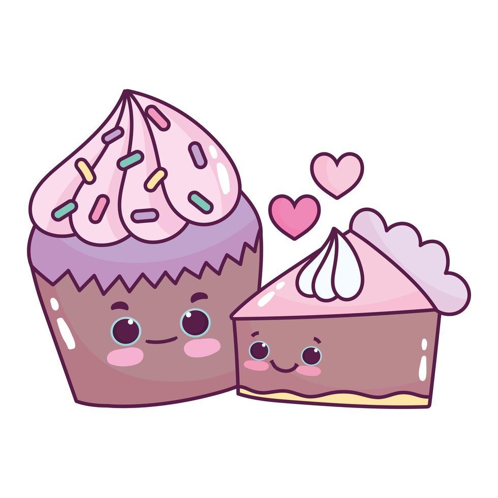 Cupcake et gâteau au chocolat alimentaire mignon amour dessert sucré pâtisserie design isolé de dessin animé vecteur