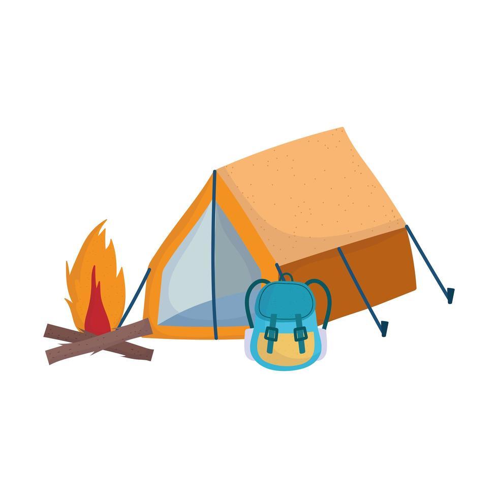 Camping tente sac à dos bonfire cartoon design icône isolé vecteur