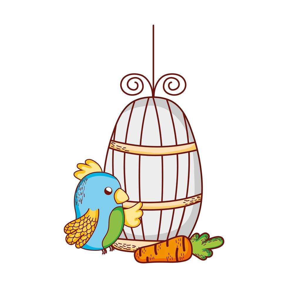 animaux mignons, cage de perroquet bleu et dessin animé de carotte vecteur