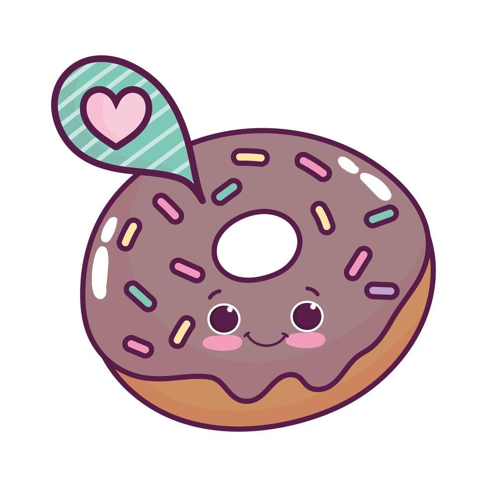 mignon, nourriture, beignet, discours, bulle, amour, dessert sucré, kawaii, dessin animé, isolé, conception vecteur
