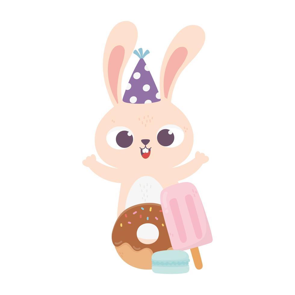 bonne journée, lapin avec donut chapeau de fête et crème glacée en bâton vecteur