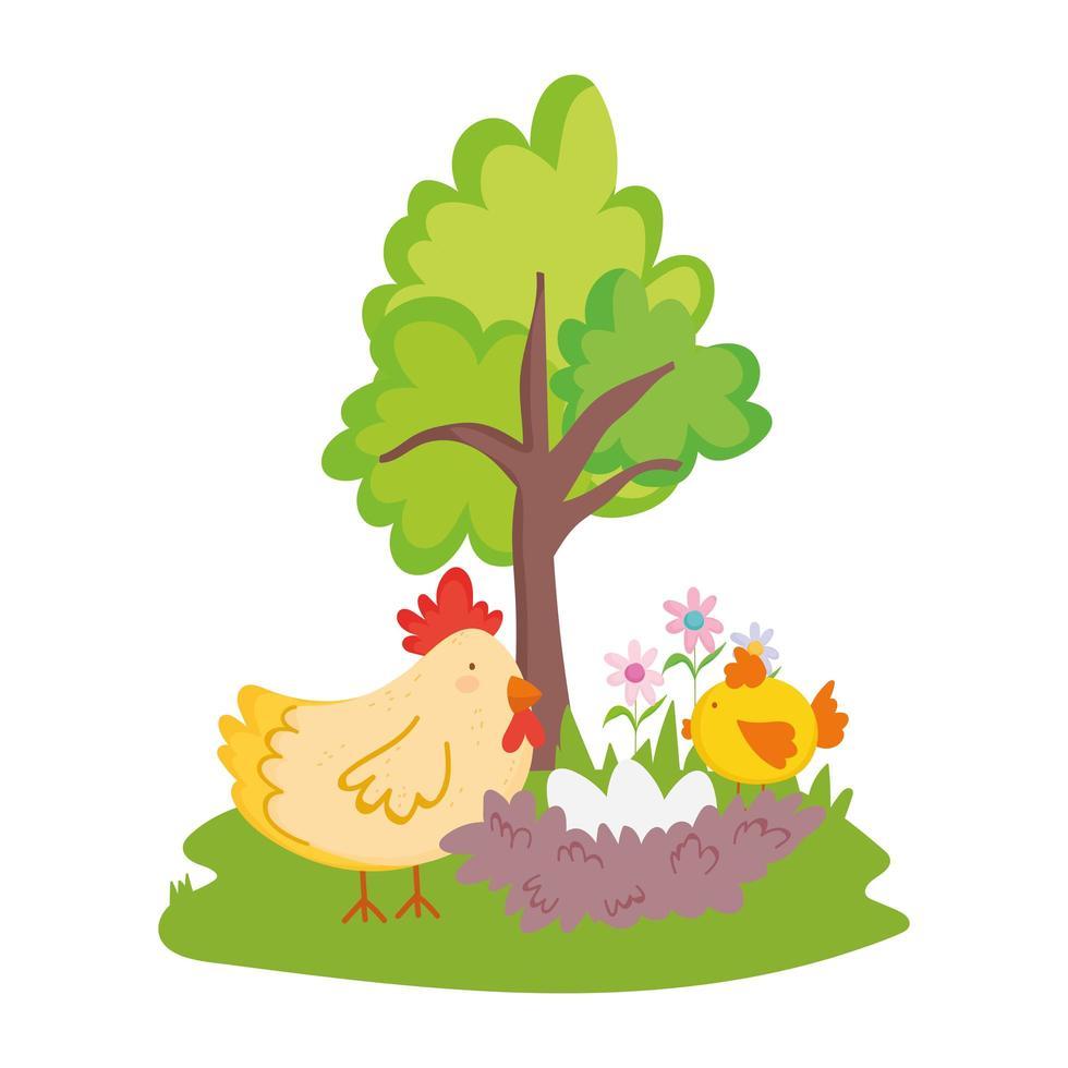 animaux de la ferme poule avec nid de poulet et oeufs fleurs dessin animé vecteur