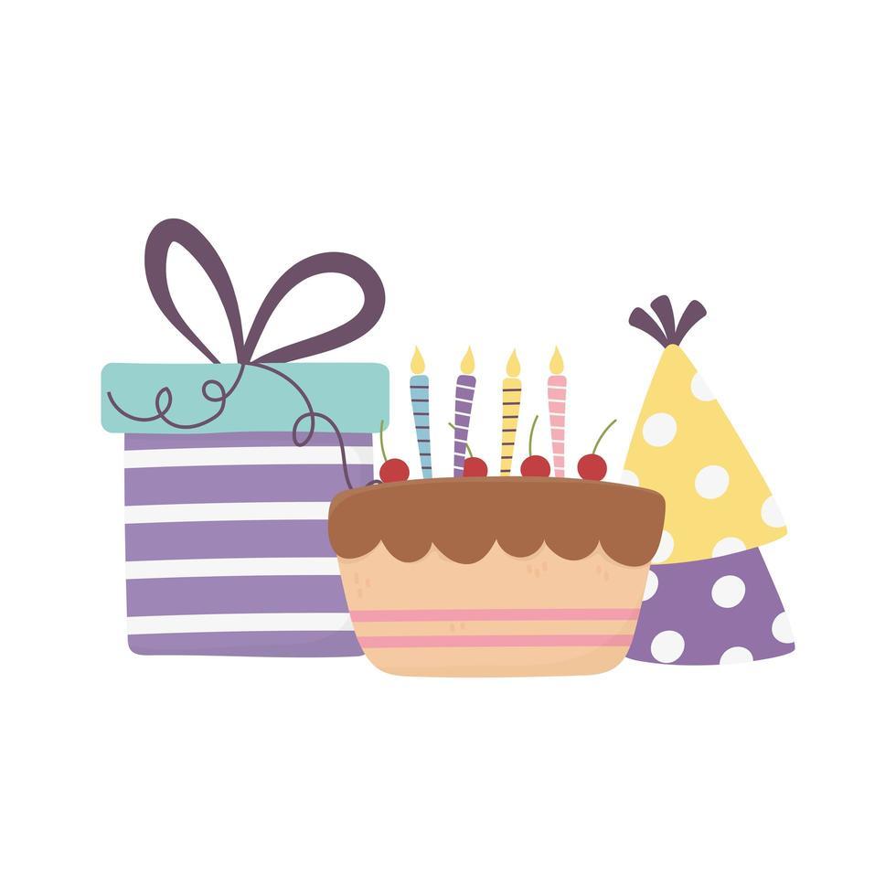 bonne journée, gâteau avec boîte-cadeau et décoration de chapeaux de fête vecteur
