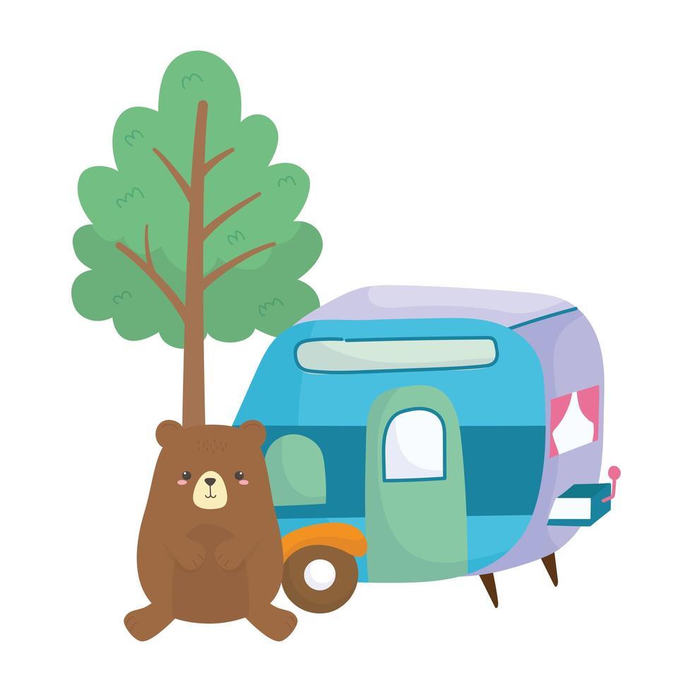 Camping mignon ours remorque arbre dessin animé icône isolé design vecteur