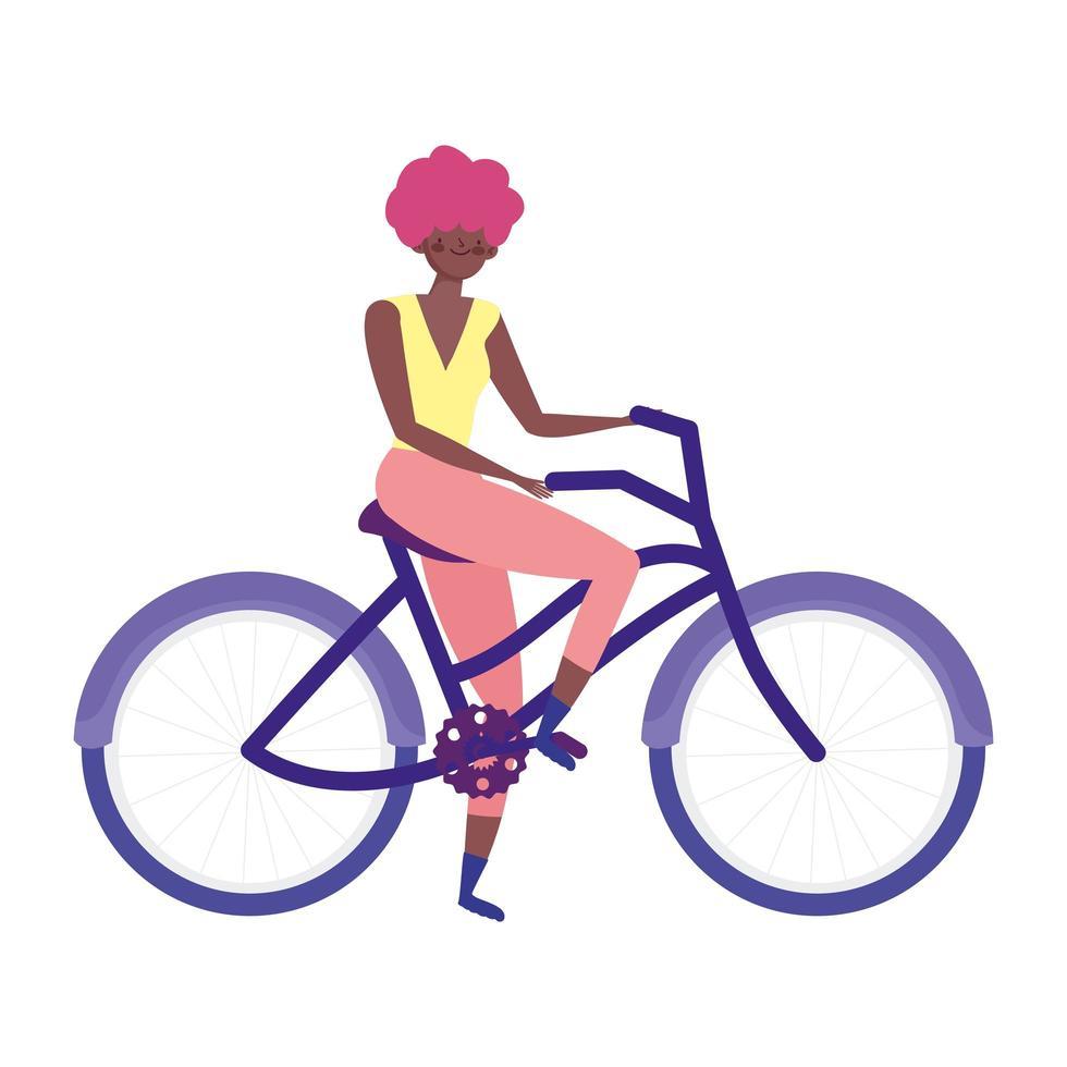 jeune femme, équitation, vélo, récréatif vecteur