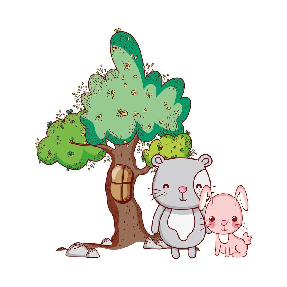 animaux mignons, lapin rose avec dessin animé nature arbre à chat vecteur