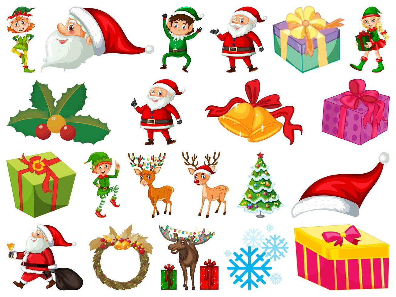 Ensemble de personnage de dessin animé de père Noël et objets de Noël isolés sur fond blanc vecteur