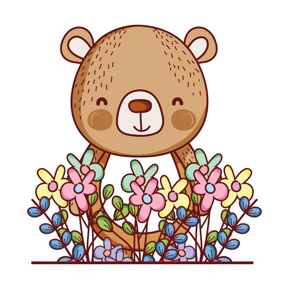 animaux mignons, petits ours fleurs feuilles feuillage dessin animé vecteur
