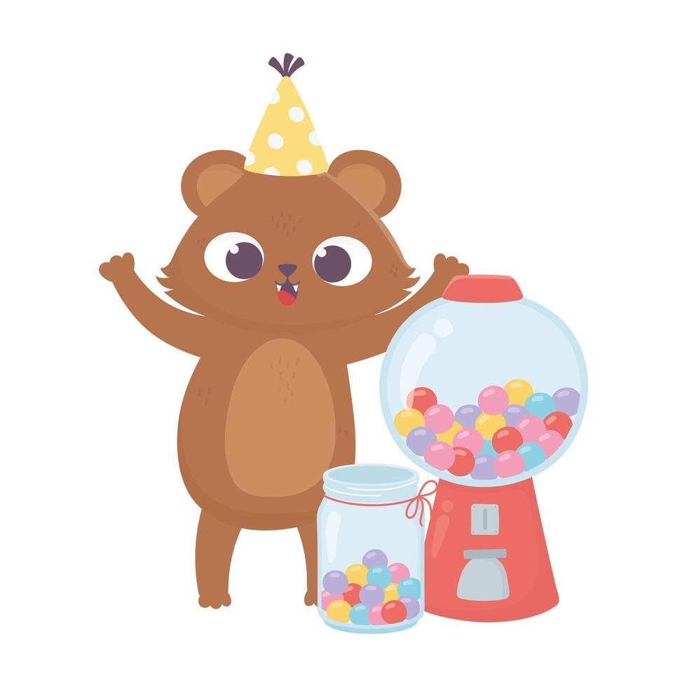 bonne journée, petit ours et renard avec chapeau et bonbons sucrés vecteur