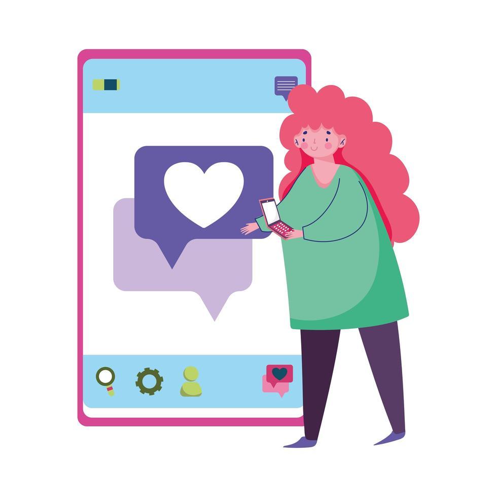 personnes et smartphone, jeune femme utilisant l'amour de SMS de smartphone vecteur