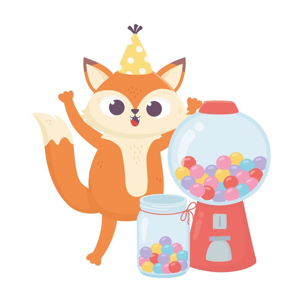 bonne journée, petit renard avec pot plein de bonbons sucrés vecteur