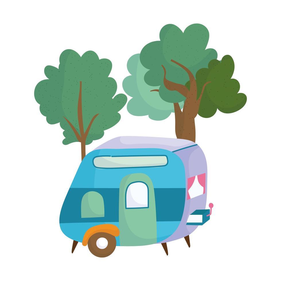 Camping remorque bush arbres dessin animé icône isolé design vecteur