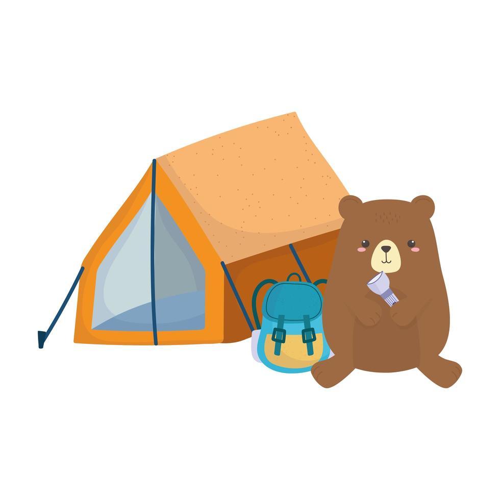 camping ours mignon avec sac à dos lanterne tente forêt vecteur