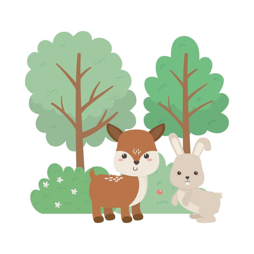 camping mignon petit lapin et cerf arbres fleurs bush dessin animé vecteur