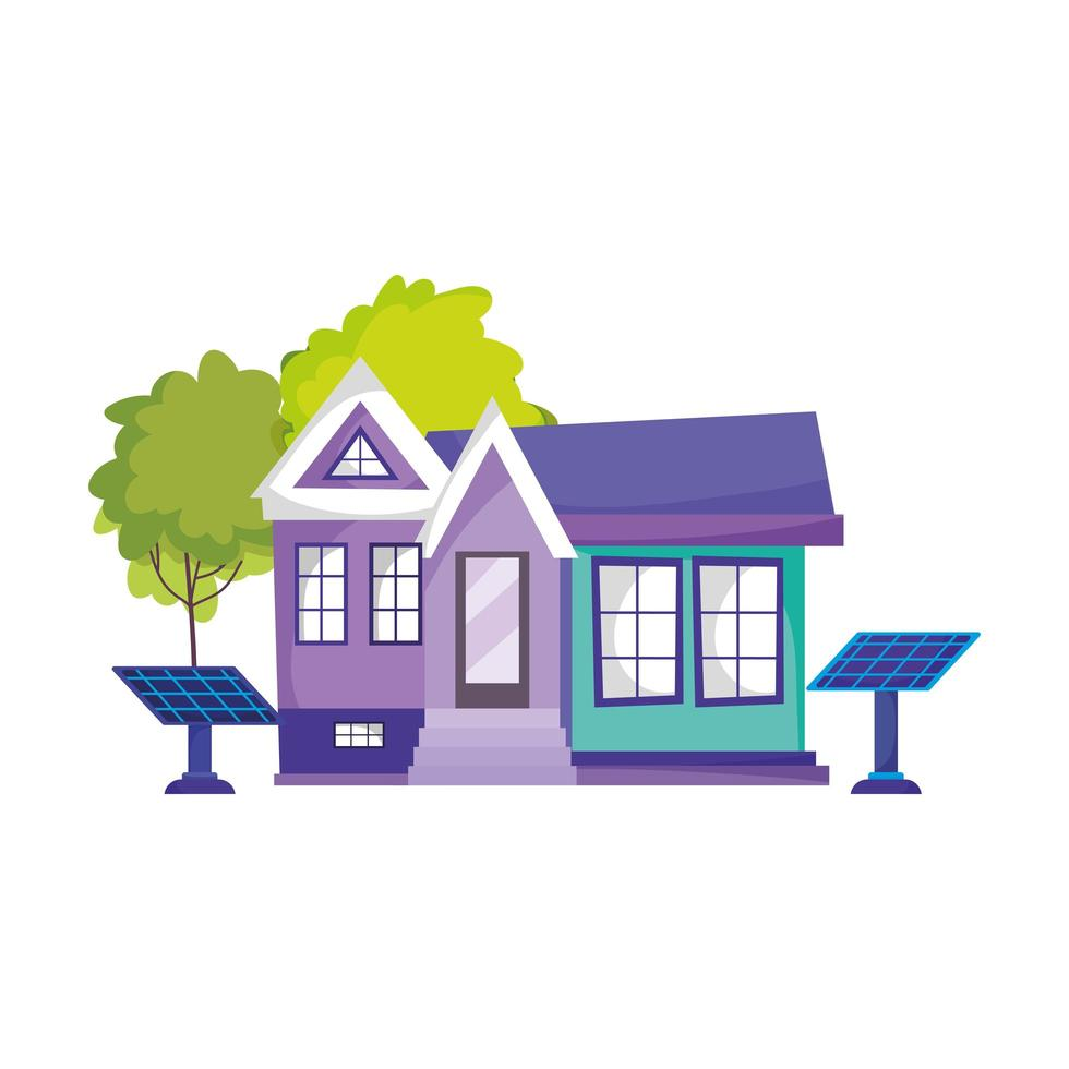 icône de panneau solaire maison écologique énergie durable arbre isolé vecteur