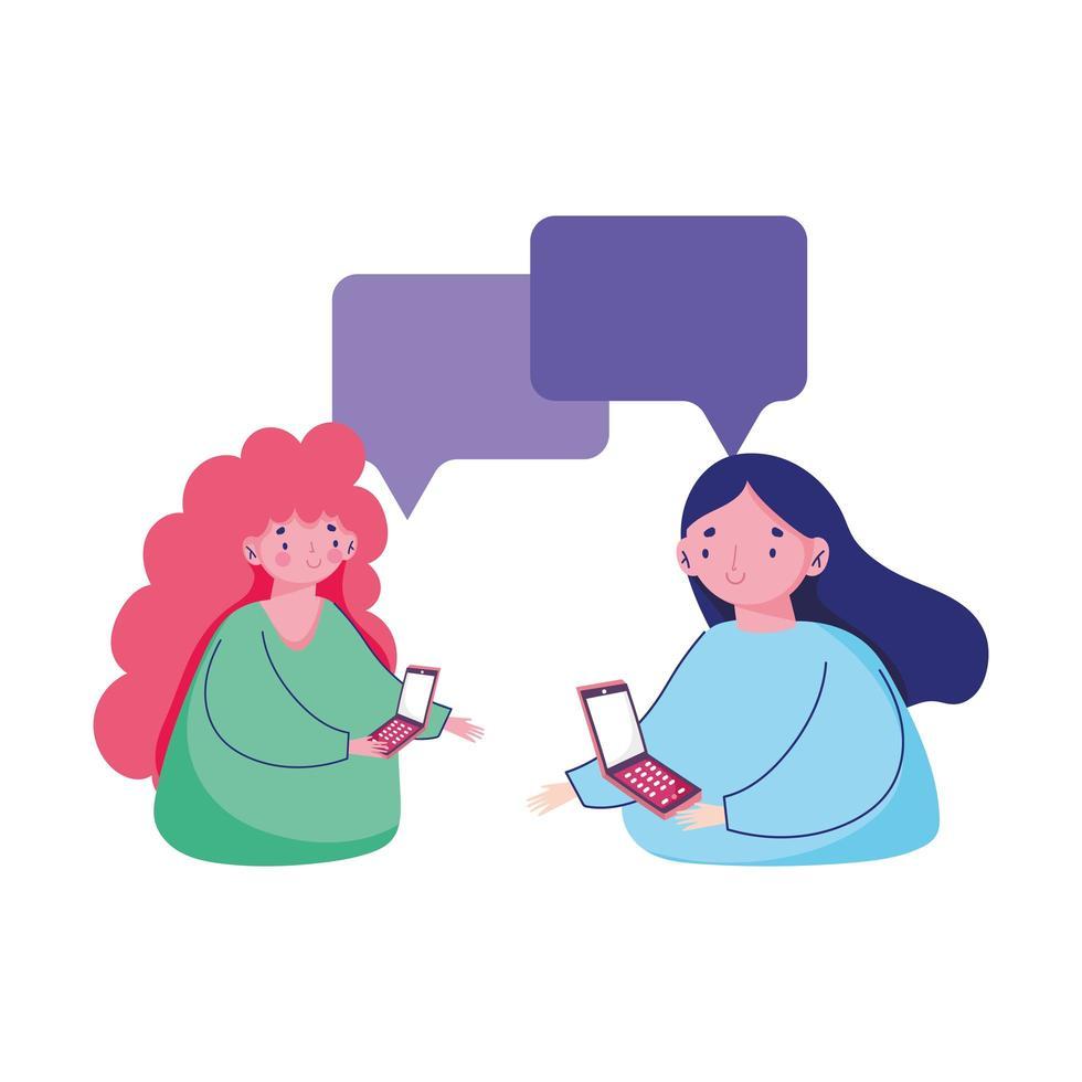 personnes et smartphone, femmes utilisant un dessin animé de chat texto mobile vecteur