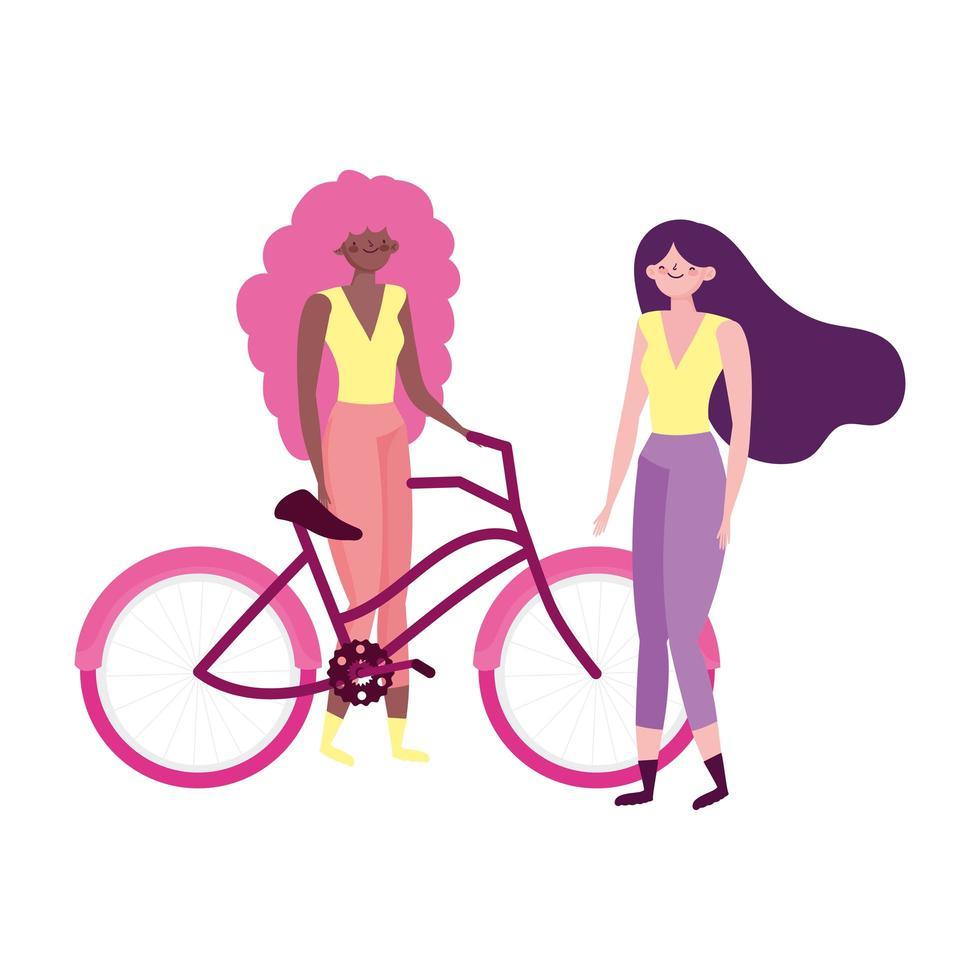 transport écologique, jeunes femmes avec dessin animé de vélo vecteur