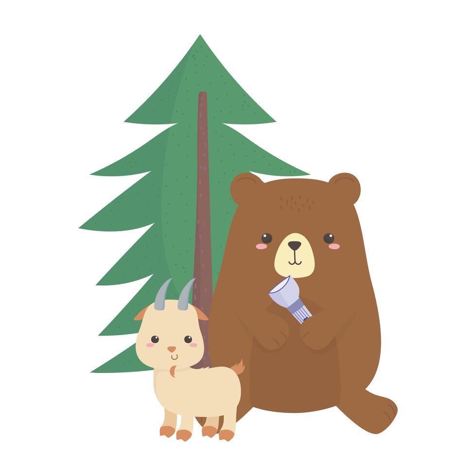camping mignon ours et chèvre avec dessin animé de feuillage de lanterne vecteur