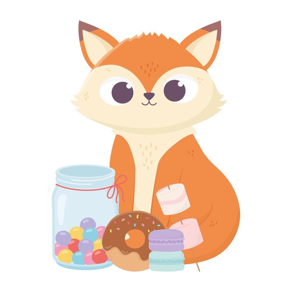 bonne journée, renard mignon avec beignet de bonbons et biscuits vecteur