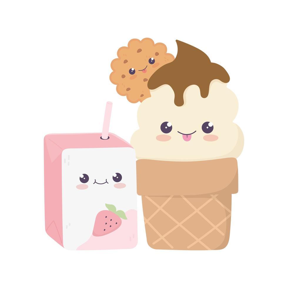mignon personnage de dessin animé kawaii jus de boîte et crème glacée vecteur