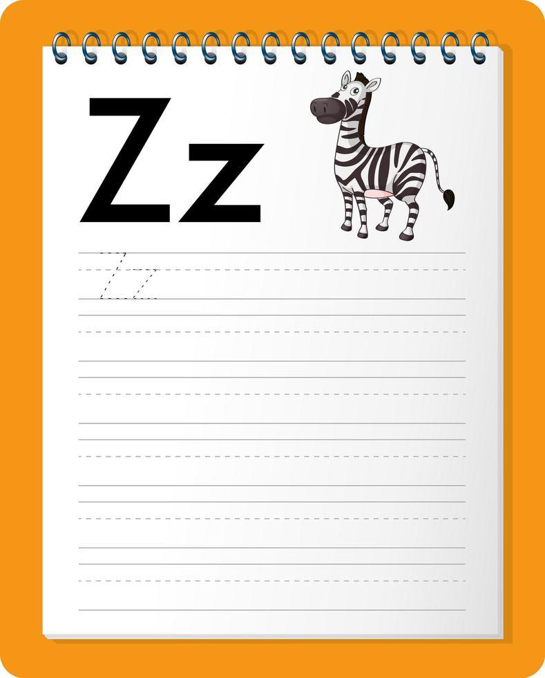 feuille de calcul de traçage alphabet avec lettre z et z vecteur