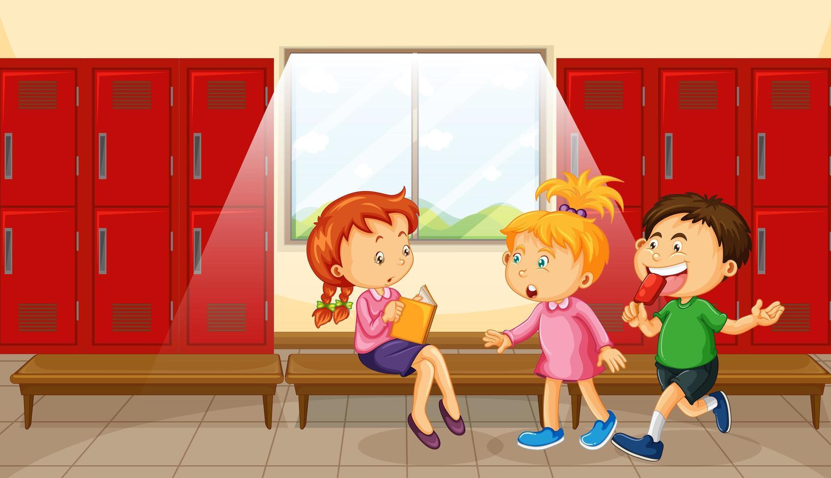 groupe d & # 39; enfants au vestiaire vecteur