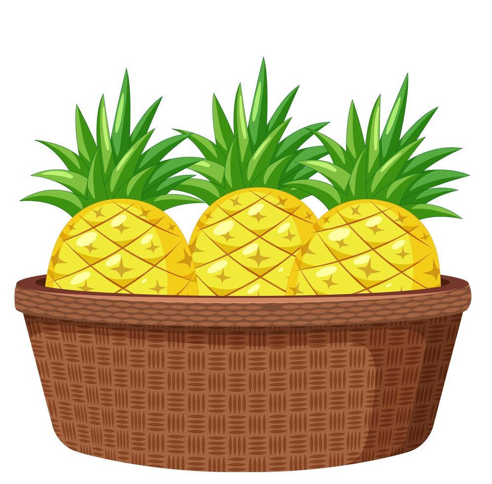 ananas dans le panier isolé sur fond blanc vecteur