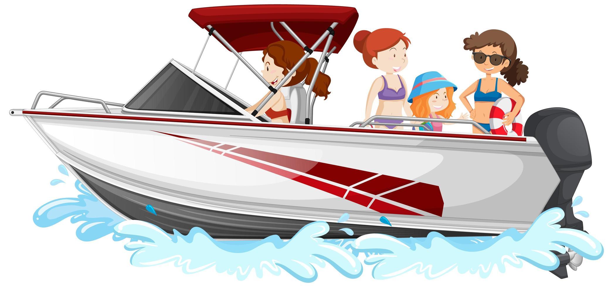 personnes debout sur un bateau de vitesse isolé sur fond blanc vecteur