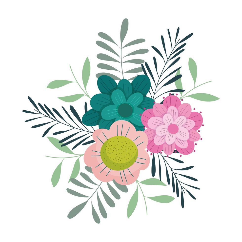 fleurs feuilles feuillage nature décoration icône isolé vecteur
